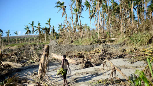 Vanuatu on March 21, 2015 after the island was hit by Cyclone Pam.