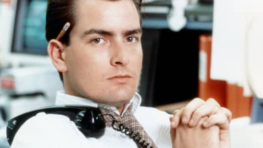"Charlie Sheen in the movie ""Wall Street."""