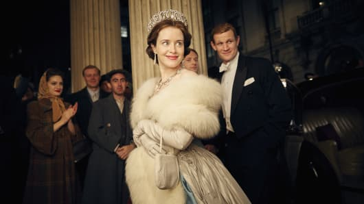 Claire Foy as  Queen Elizabeth II and Matt Smith as Philip Mountbatten, Duke of Edinburgh in The Crown a Netflix Original