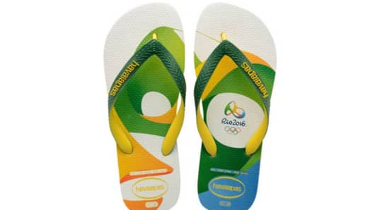 Brazilian flip flop company Havaianas introduces a pair to commemorate the 2016 Olympics in Rio.