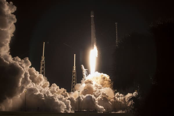 SpaceX's Falcon 9 rocket taking off to deliver the JCSAT-16 communications satellite to space.