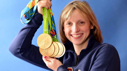 Swimmer, Katie Ledecky of the United States poses for a photo with her five medals on the Today show set on Copacabana Beach on August 13, 2016 in Rio de Janeiro, Brazil.