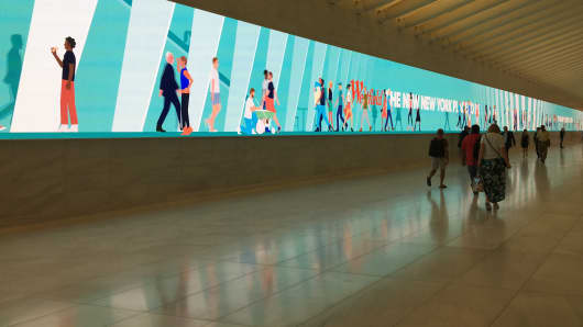 Digital signage in a corridor at Westfield World Trade Center.
