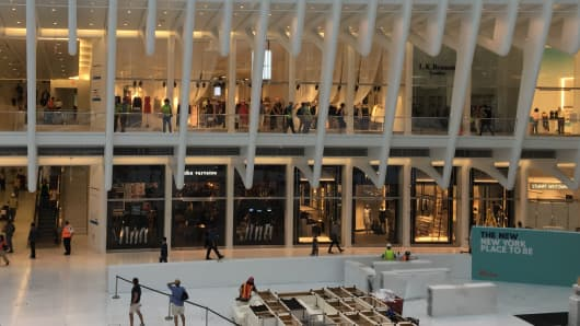 The central shopping area at Westfield World Trade Center.