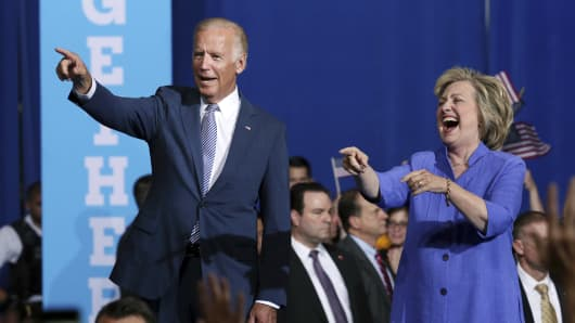 Democratic presidential candidate Hillary Clinton and Vice President Joe Biden arrive at a campaign rally, Monday, Aug. 15, 2016, in Scranton, Pa.