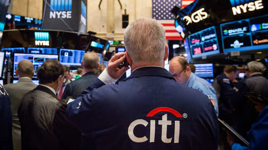 A Citigroup Inc. trader works on the floor of the New York Stock Exchange