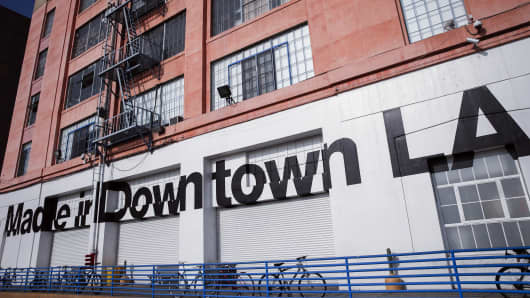 'Made in Downtown LA' is displayed outside the American Apparel factory in downtown Los Angeles.
