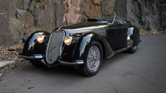 1939 Alfa Romeo 8C 2900B Lungo Spider, estimated at $20-­ 25M.