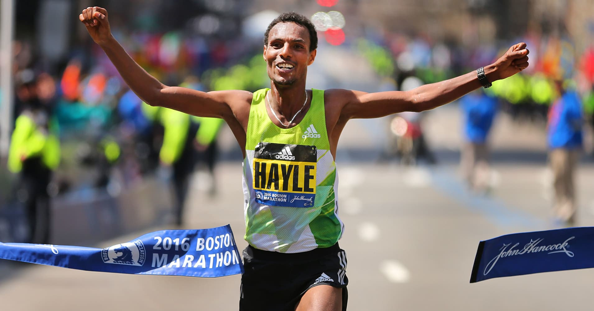 Lemi Berhanu Hayle of Ethiopia crosses the finish line to win the mens race in the 120th Boston Marathon on Monday, April 18, 2016.