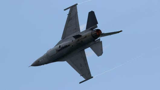 A U.S. Air Force F16 Fighting Falcon jet developed by Lockheed Martin Corp.