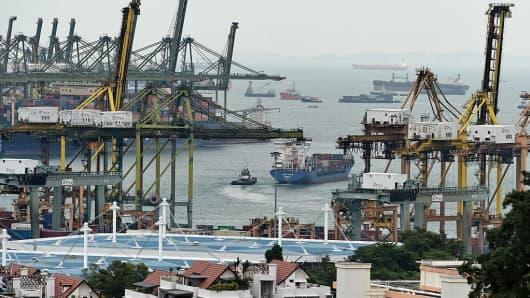 Pasir Panjang PSA container port in Singapore.
