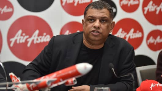 AirAsia Group CEO Tony Fernandes speaks at a press conference in Sydney on March 12, 2015.