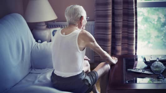 Man alone, elderly man