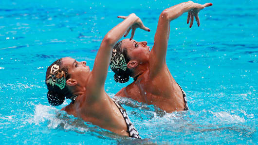 Ona Carbonell and Gemma Mengual of Spain compete in the Synchronised Swimming Duets Free Routine final on Day 11 of the Rio 2016 Olympic Games