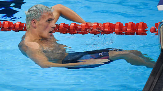 Ryan Lochte of the United States reacts to finishing outside of the medal pack during the men's 200-meter individual medley final at Rio 2016 on Thursday, August 11, 2016.