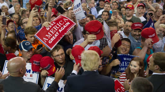 Republican candidate for president Donald Trump speaks to supporters at a rally at Erie Insurance Arena on Aug. 12, 2016 in Erie, Pa.