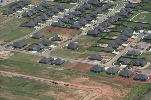 A new home development is seen under construction from the air near Oklahoma City, Oklahoma