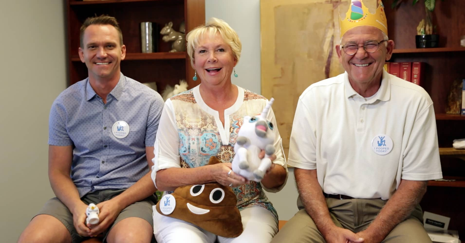 The founders of Squatty Potty. Bobby, Judy and Bill Edwards.