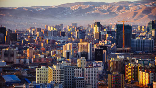 Sunset in Ulaanbaatar city, Mongolia's capital.