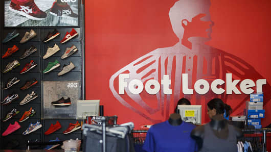 Footlocker store, customers shopping, retail