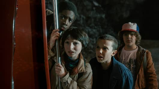 Caleb McLaughlin as Lucas Sinclair, Finn Wolfhard as Mike Wheeler, Millie Bobby Brown as Eleven and Gaten Matarazzo as Dustin Henderson featured in Netflix Original Series Stranger Things