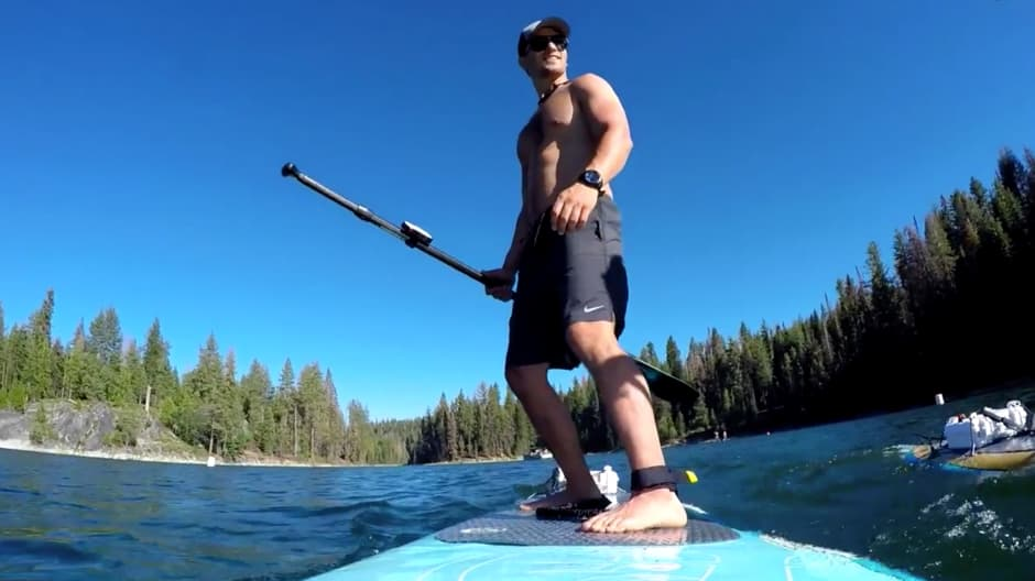 """Venture capitalist Jeremy Bloom tests out the ElectraFin on a lake in California's Sierra Nevadas on the premiere episode of CNBC's """"Adventure Capitalists."""""""
