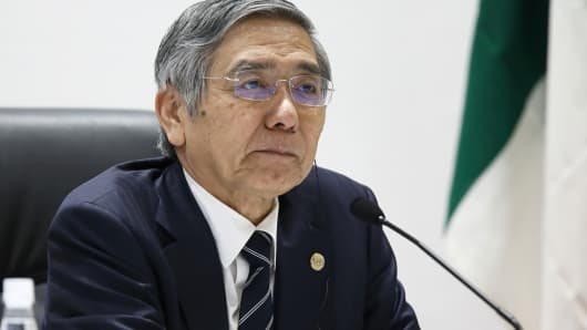 Haruhiko Kuroda, governor of the Bank of Japan (BOJ), listens during a news conference following the Group of Seven (G-7) finance ministers and central bank governors meeting in Sendai, Japan, on Saturday, May 21, 2016.