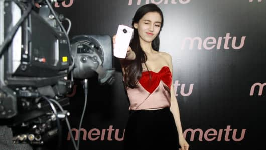 Actress Angelababy attends the press conference of Meitu smartphone on June 13, 2016 in Xiamen, Fujian Province of China.