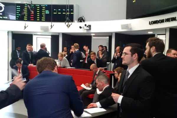 Traders operate in the Ring, the open trading floor of the new London Metal Exchange (LME) in central London.