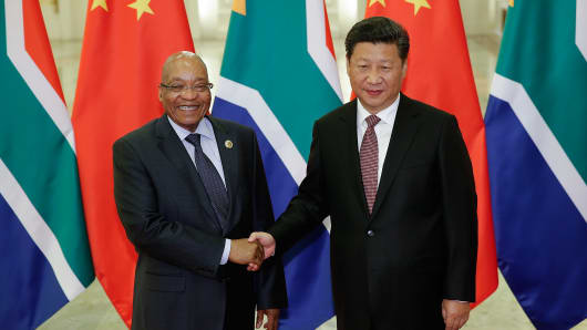 Chinese President Xi Jinping (R) shakes hands with South African President Jacob Zuma (L) at The Great Hall Of The People on September 4, 2015 in Beijing, China.