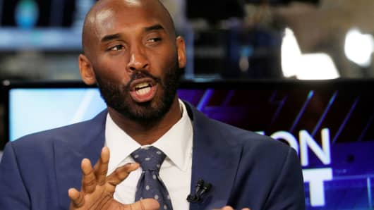 Kobe Bryant speaks during an interview on CNBC at the New York Stock Exchange in New York City, August 22, 2016.