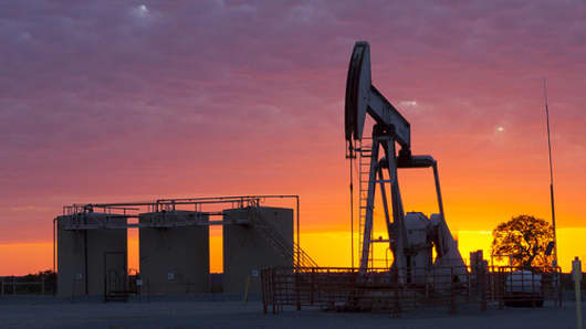 Marathon Oil Corporation pumpjack during sunset in Oklahoma