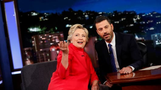 Democratic presidential nominee Hillary Clinton tapes an appearance on the Jimmy Kimmel Show in Los Angeles, California, August 22, 2016.