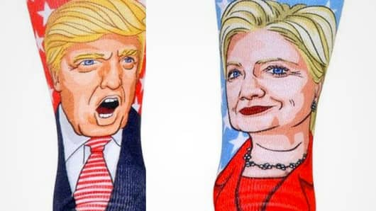 Donald Trump and Hillary Clinton socks