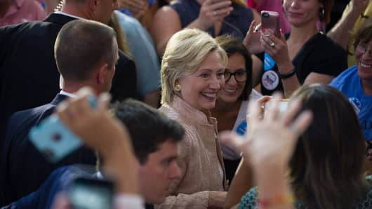 Hillary Clinton greets supporters at a rally in Cleveland, Ohio.