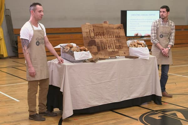 "Dan Herbst and Geoff Hardman, owners of Cleveland Bagel Company, make their pitch to investors in the premier episode of ""Cleveland Hustles"""