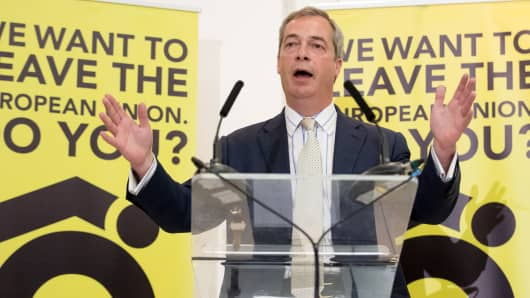Nigel Farage speaks at a Grassroots Out! campaign rally at the Mercure Bristol Grand Hotel on June 4, 2016 in Bristol, England.