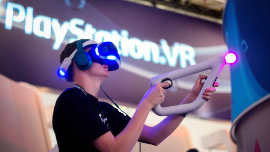 VR game at Sony Play Station stand during Gamescom 2016 gaming trade fair