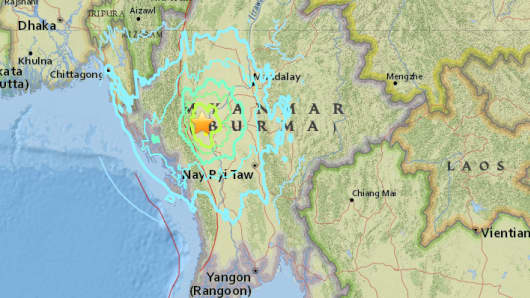 A  6.8 magnitude earthquake hit west of Chauk, Burma striking the area of where the Dhammayangyi Temple stands.