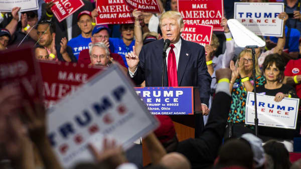 Donald Trump addresses supporters in Akron, Ohio.