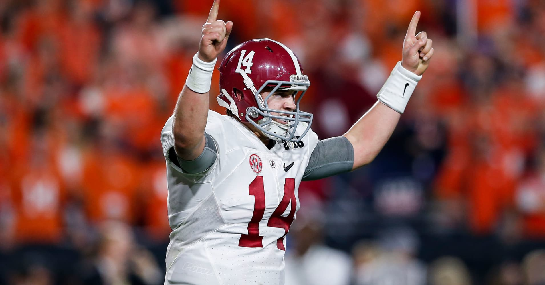 Quarterback Jake Coker of the Alabama Crimson Tide after scoring a touchdown during the College Football National Championship Game against the Clemson Tigers at University of Phoenix Stadium on January 11, 2016 in Glendale, Arizona.