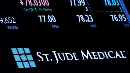 The ticker and trading information for St. Jude Medical is displayed where the stock is traded on the floor of the New York Stock Exchange
