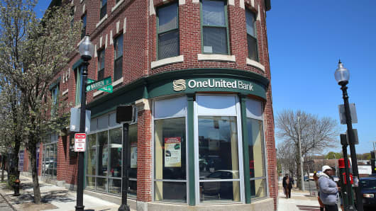 The exterior of OneUnited Bank in Boston