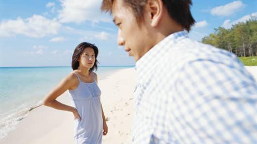 Couple on beach argument