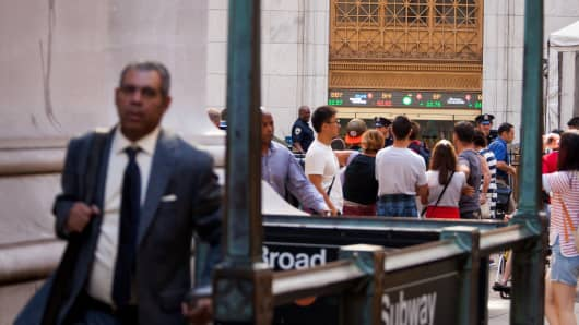 Wall street, end of day subway entrances after hours