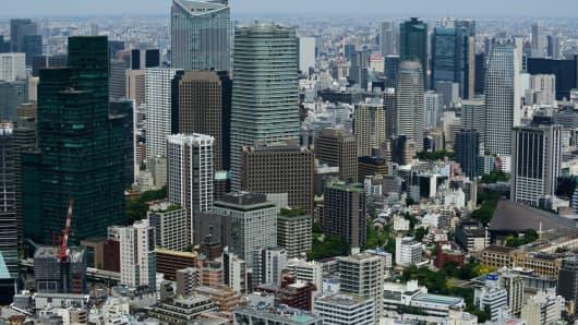 Skyline in Tokyo, Japan.