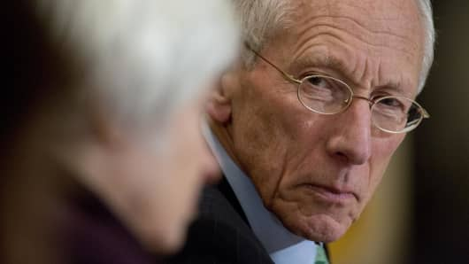 Stanley Fischer, vice chairman of the U.S. Federal Reserve, looks towards Janet Yellen, chair of the U.S. Federal Reserve