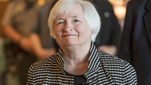 Janet Yellen at the Jackson Hole economic symposium in Moran, Wyoming, Aug. 25, 2016.