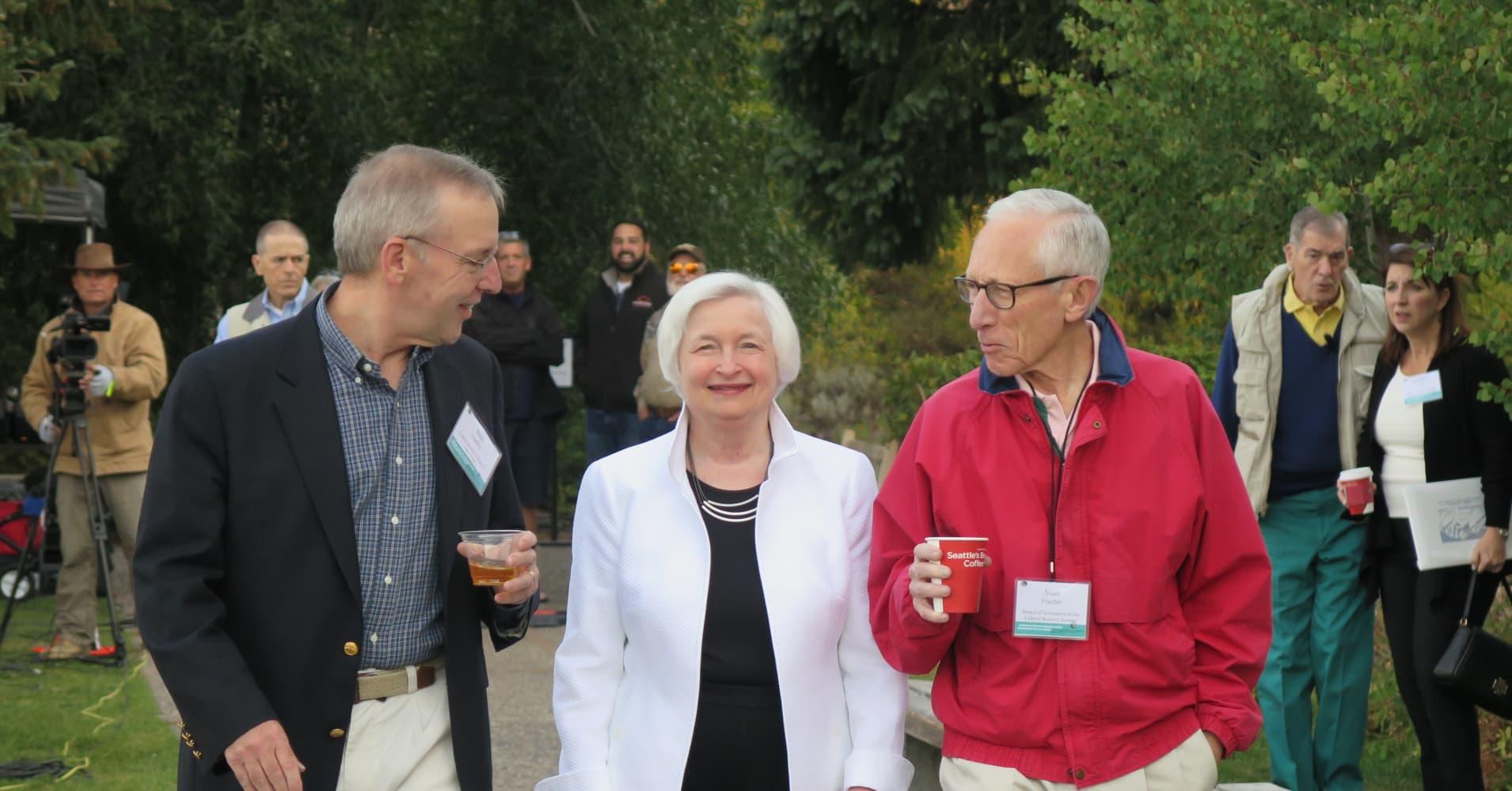 William C. Dudley, Janet Yellen and Stanley Fischer in Jackson Hole