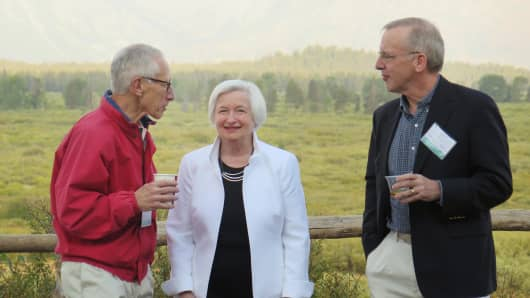 William C. Dudley, Janet Yellen and Stanley Fischer in Jackson Hole last year.